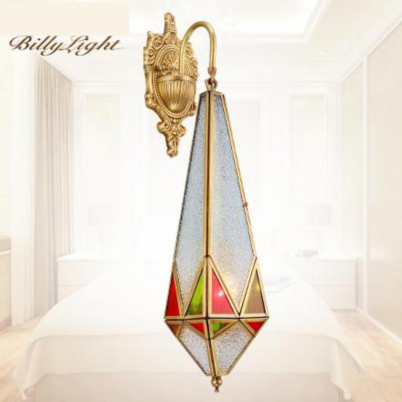 Church Entrance Tiffany style glass Copper wall Lamp Arandela Arab Modern simple Copper colorful glass Wall sconce Aisle Lights