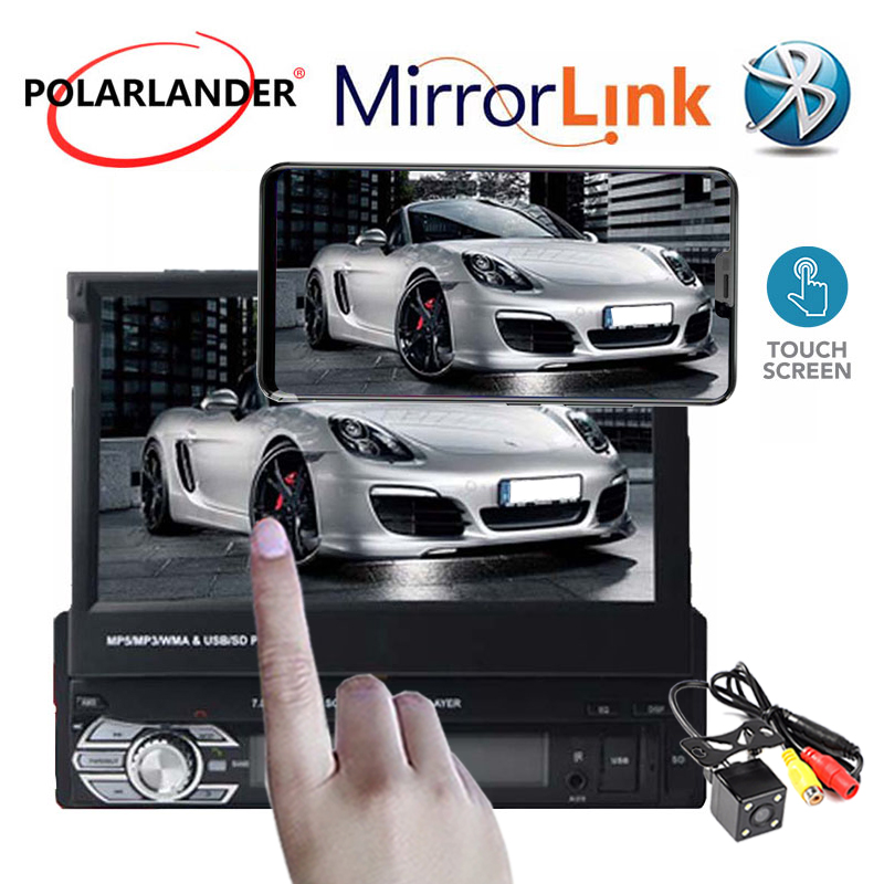 1 Din voiture mp4 mp5 lecteur stéréo vidéo voiture Audio Radio 7' HD écran rétractable tactile miroir lien autoradio lecteur cassette