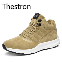 Thestron Mens Sports Shoes Running Black Gray Brown Men Sneakers Winter Plus Cashmere Warm Cold Good