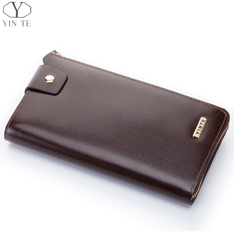 YINTE 2016 Men's Clutch Wallet Leather Men Purse Fashion England Brown Bag Clutch Wallet Passport Purse Card Holder T8230-1 men s wallet genuine leather famous brand england style black clutch bag passport purse men card holder crocodile prints