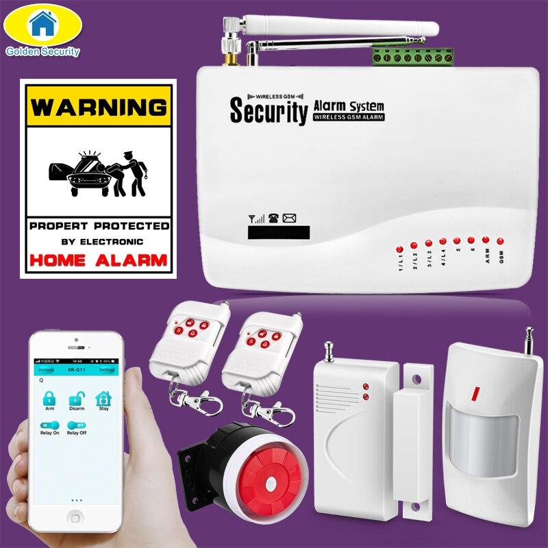 Alta qualidade 10a app controle sem fio gsm antena dupla sistemas de alarme segurança casa 850/900/1800/1900 mhz espanhol/russo/inglês