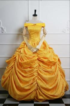 Free Shipping adult princess belle costume Beauty and the Beast costume fantasia cosplay halloween dress costumes for women