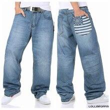Мужчины Печатных Скейтбордист Хип-Хоп Джинсы Плюс Размер Мужские Широкую Ногу Джинсовые Брюки Хип-Хоп Голубой Отбеленные Мешковатые Джинсы Бесплатная Доставка