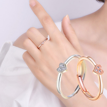 2019 New Fashion Crystal Heart Shape Rings Rose Gold Silver Color Shaped Wedding Ring for Womens Zircon Engagement