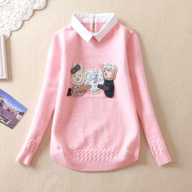 Suéter de las muchachas de la solapa 2017 Otoño grandes vírgenes falsos dos niños suéter suéter de cobertura de 12-15 años de edad