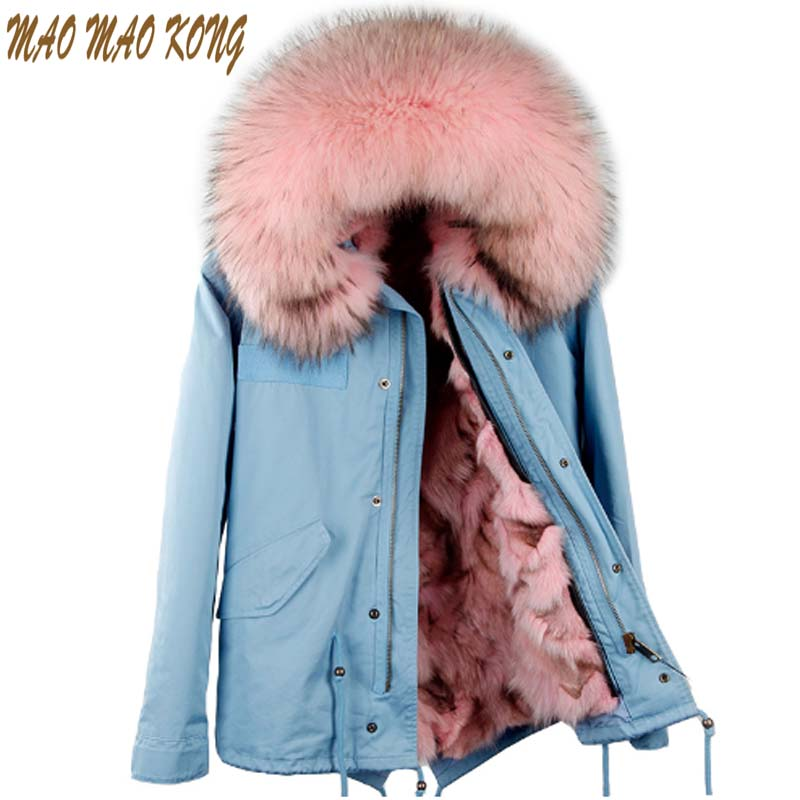 Maomaokong 2017 New Women Real Fox fur Parka Winter Jacket Large Raccoon Fur Collar Coat With Natural Fox Fur Lining Coat 2017 winter new clothes to overcome the coat of women in the long reed rabbit hair fur fur coat fox raccoon fur collar