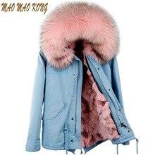 Maomaokong 2017 New Women Real Fox fur Parka Winter Jacket Large Raccoon Fur Collar Coat With Natural Fox Fur Lining Coat