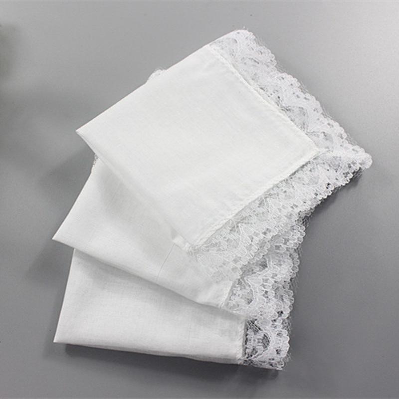 5pcs Cotton Handkerchiefs White Lace Handkerchief Handmade DIY Painting Hankies Ladies Wedding Gift Towel Cloth Napkins QLY9619