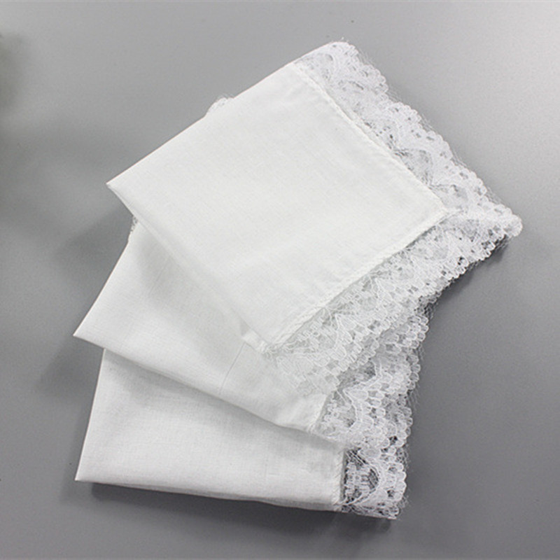 5pcs/set Cotton Handkerchiefs White Lace Handkerchief Handmade DIY Painting Hankies Ladies Wedding Gift Towel QLY9619