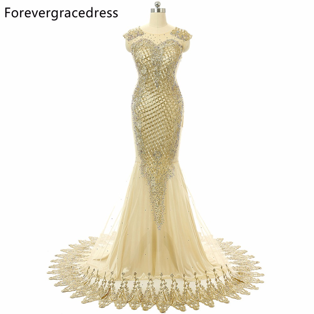 Forevergracedress 2018 Unique Luxury Gold   Prom     Dress   Mermaid Cap Sleeves Sheer Top Neck Beaded Long Formal Party Gown Plus Size