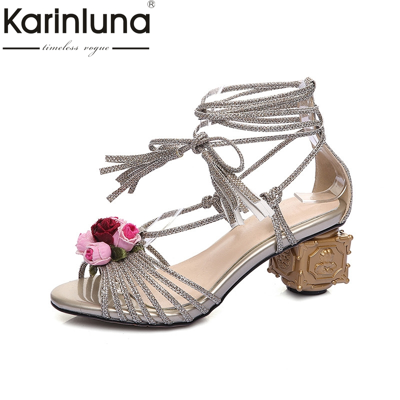 Karinluna 2018 Summer Brand Big Size 33-43 Women ankle-Wrap Sandals Fashion Med Strange Heels Shoes Woman Concise Flower Shoe rousmery 2017 ankle wrap rhinestone high heel sandals woman abnormal jeweled heels gladiator sandals women big size 43