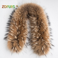 ZDFURS * Luxury Real Raccoon Fur Scarf Women 100% Natural Raccoon Fur Collar Winter Warm Fur Collar Scarves 70*16cm ZDC 163001