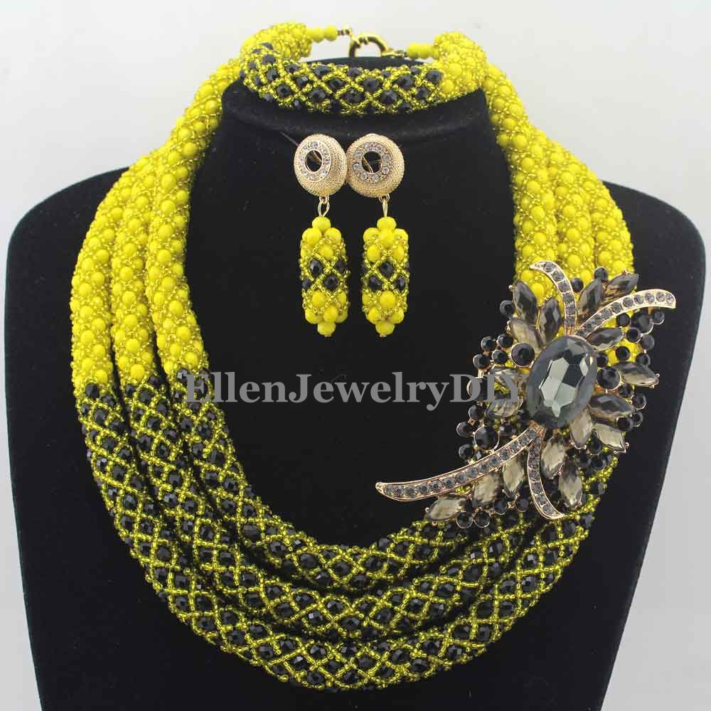 Unique Black Crystal African Beads Jewelry Set Nigerian Wedding beads bridal Fashion Necklace Set Handmade W12866 thumbnail