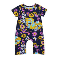 Newborn Toddler Baby Girls Floral Romper Jumpsuit Playsuit Outfit Clothes Infant Girl Flower Print Short Sleeve Rompers 0-3Y