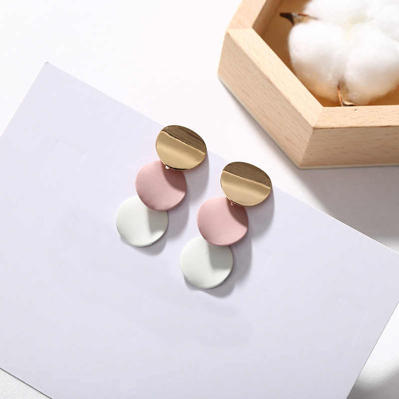 2019 New 1Pair Round Metal 3 Colors Wedding oorbellen Allergy Free pendientes Geometric Alloy Earring Unique Fashion Jewelry