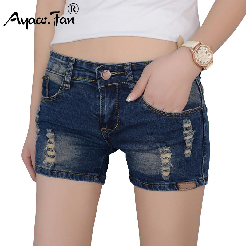 2019 Women Dark Blue Shorts Ripped Skinny Summer Casual Fashion Denim Shorts High Elasticity Cotton Women Hole  Short Jeans