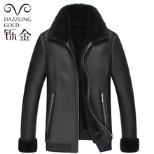 The man's natural leather coat sheep fur jacket free shipping 6033ST