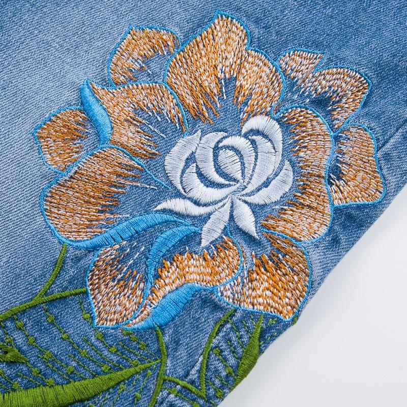 Fleur Haute Femme Pantalon Jeans été Taille Blanchis Femmes Broderie Brodé Longueur Avec Denim Printemps Cheville Pantalon PYqWp