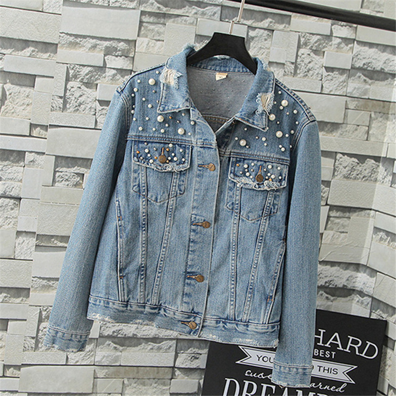 Pearl Dotted Light Blue Denim Jacket For Women Autumn Winter Long Sleeves Casual Denim Coat Female