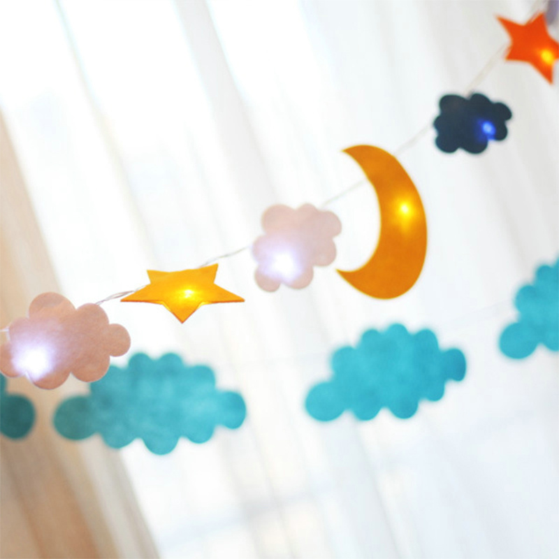 2M 20Leds Star Moon Cloud Led String Light Powered by 3*AA Batteries Fairy Lights for Holiday Home Party Decoration Freeshipping