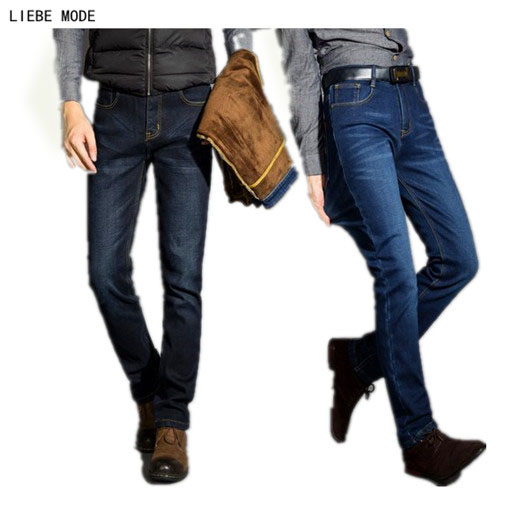 Mens Winter Thicken Stretch Denim Jeans Men Warm Fleece Jean Pants Trousers Plus Size 36 38 40 42 купить