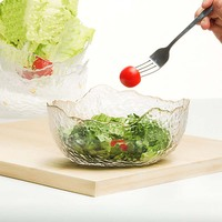 Creative Japanese Trays Glass Bowls Irregularity Big Capacity Tableware Salad Soup Glass Bowl Dessert Container Dinnerware 1pcs