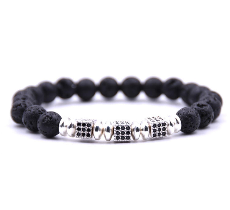 Bracelets Fashion Jewelry Essential Oil Lava Stone Diffusing Bracelet Aromatherapy Jewellery With Gems.