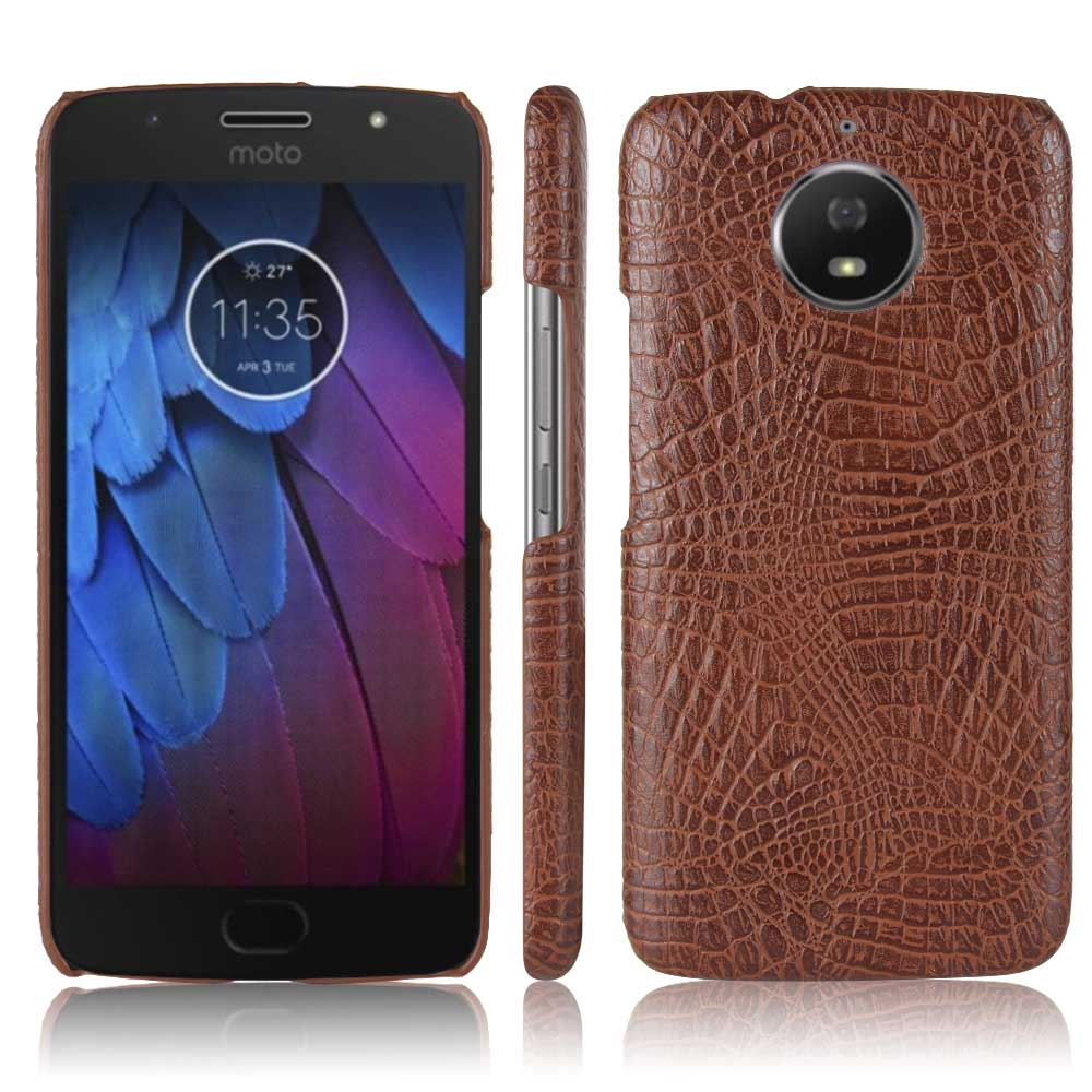 KSQ Luxury PU Leather Case For Motorola Moto G5S Crocodile Skin Cell Phone Protective Back Cover