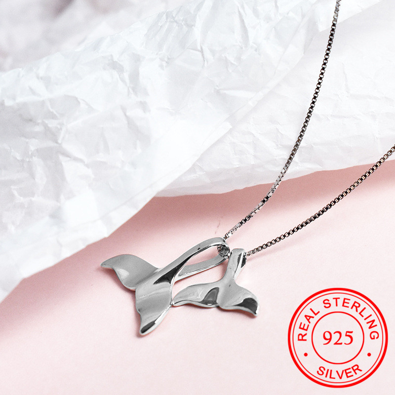 Petite Dolphin Whale Tail Sea Ocean 925 Sterling Silver Pendant Necklace