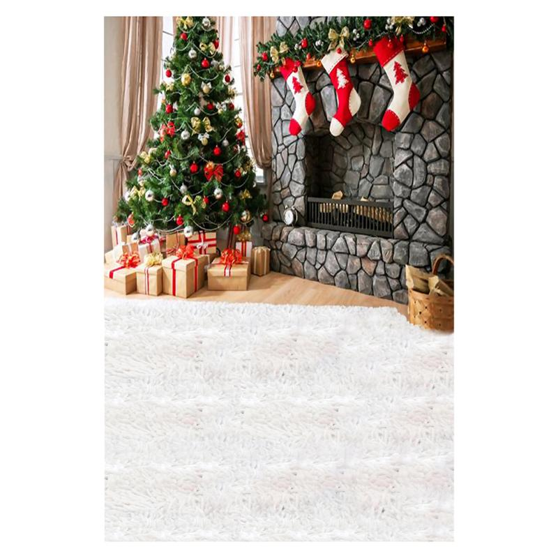 0.9x1.5m Christmas Tree Stocking Photo Background Christmas Sock 3D Vinyl Photography Studio Backdrops Props Accessories