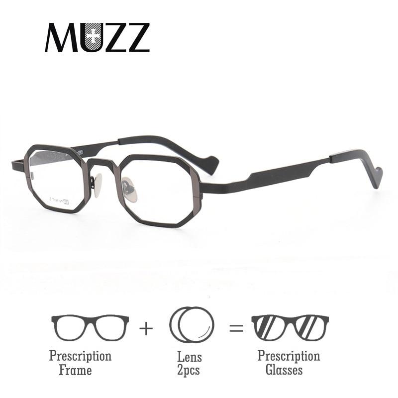 Pure Titanium Frames With lens insider Men s Optical Hexagon Super Small full rim Eyeglasses Frame