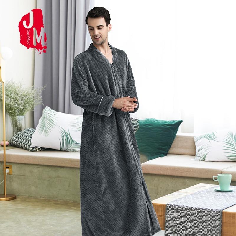 Flannel Bathrobe Men Winter Long Warm Full Sleeves Robe Male Coral Fleece Thick Japanese Bath Robe Man Kimono Sleep M L XL XXL
