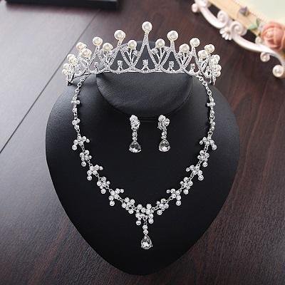 Bride Diaries New Design Crystal Pearl Bride 3pcs Set Necklace Earrings Tiara Bridal Wedding Jewelry Set Accessories (5)