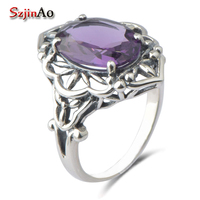 Western Fashion Jewellery Temperament Of Restoring Ancient Ways Is 925 Silver Purple Crystal Gem Ring Series
