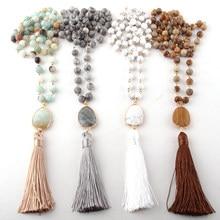 Collar étnico de piedras naturales para mujer, joyería de moda, cadena de eslabones de piedras naturales, collares de borla largos
