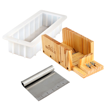 цены Soap Making Tools Set Handmade Silicone Soap Mold with Adjustable Wooden Loaf Cutter Box and Stainless Steel Blade