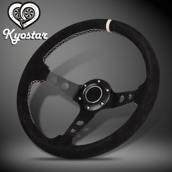 new volante profonda universal race car steering wheel 13 inch deep corn dish leather suede steering