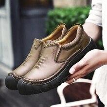 BACKCAMEL/Новые мужские ботинки Осень-зима, повседневная обувь из натуральной кожи, мужские уличные рабочие кожаные ботинки на толстой подошве, размер 38-44