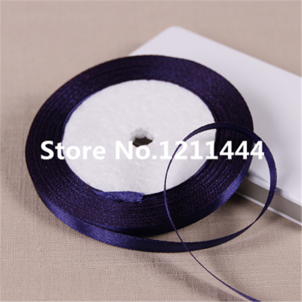 50yard Navy Blue 6mm Single Face Polyester Satin Ribbon for Christams Gifts Wedding Plac ...