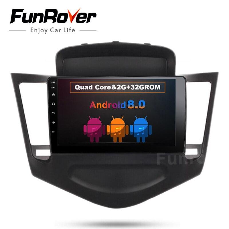 Funrover HD 9 Quad Core 2 din Android 8.0 Voiture DVD GPS Navigation Lecteur Deckless Voiture Stéréo pour Chevrolet cruze 2009-2013 Radio