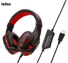 Lefon Gaming Headset 7.1 Bass Earphone Wired Gaming Headphones USB Stereo Headsets with Mic light for Computer PC Laptop Gamer sades spirit wolf pc gamer usb 3 5mm wired headset gaming headphones with mic deep bass noise isolating led light for computer