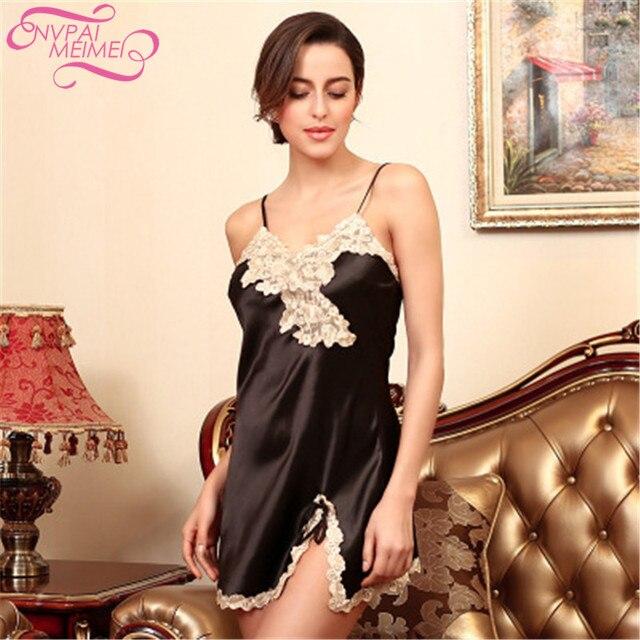 9e6b2fd2fd5f NVPAIMEIMEI Women Sleeping Wear Summer Sexy night dress Silk Satin  Sleeveless V-neck Nightgown Sleep Dress Female Home Clothes