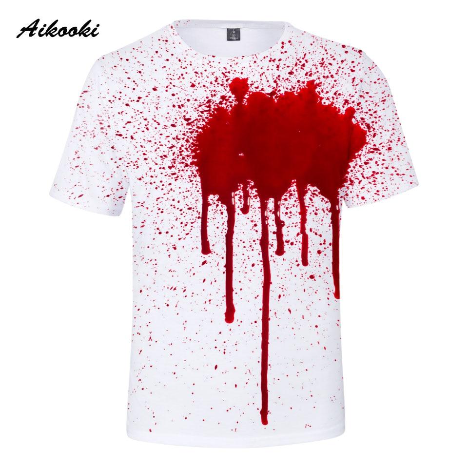 5286cd4d36 Aikooki Halloween 3D Tshirt Boy/Girl Popular 3D T-shirt Mens Summer Short  Sleeve style Blood stains Full 3D Printed Tops Tees