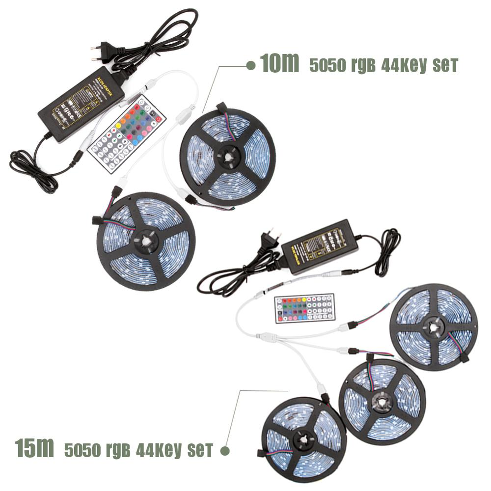 Image 4 - DC 12V LED Strip Light Flexible Diode Ribbon Tape RGB SMD 2835 5050 44Key Power Remote 5M 10M 15M Full Set Waterproof Lighting-in LED Strips from Lights & Lighting