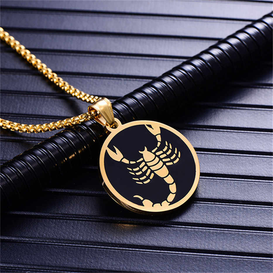 Scorpio 12 Constellations Necklace For Men/Women Birthday Gifts Gold Color Stainless Steel Amulet Pendant Zodiac Sign Jewelry
