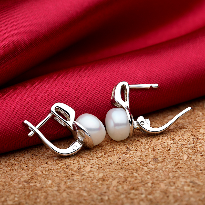 TZ4107EB 925 Sterling silver natural freshwater pearls earring 2
