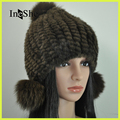 IneShe Women Fur Hats Caps Knitting Water Mink Hair Fur Berets Natural Stripe Fur Hats Female Winter Warm Beanies M3010