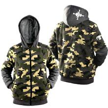 High Q unisex cotton cartoon ONE PIECE Edward Newgate Hoodies jacket coat camouflage army green velvet