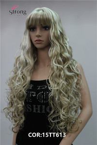 Image 2 - StrongBeauty Long Thick Wavy Black,Brown,Blonde Highlighted Synthetic Wig Women Wigs