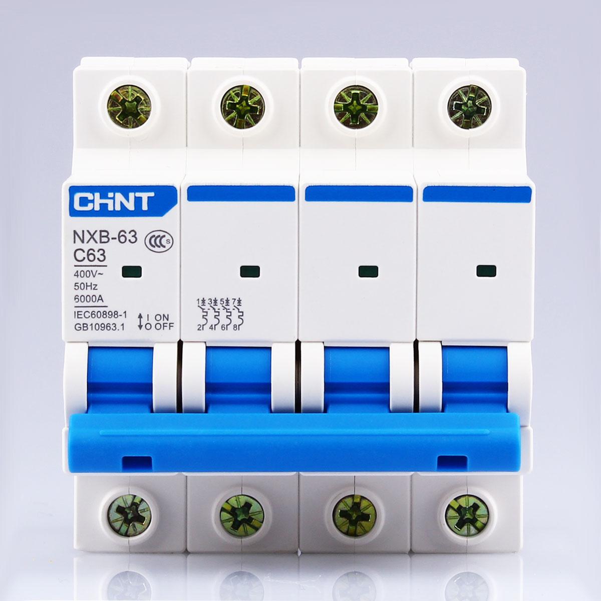 CHNT CHINT NXB-63 4P 1A 2A 3A 6A 10A 16A 20A 25A 32A 40A 63A 230V 380V Miniature Circuit breaker MCB NEW DZ47 idpna vigi dpnl rcbo 6a 32a 25a 20a 16a 10a 18mm 230v 30ma residual current circuit breaker leakage protection mcb a9d91620